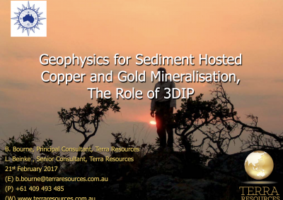 Geophysics for Sediment Hosted Copper and Gold Mineralisation, The Role of 3DIP